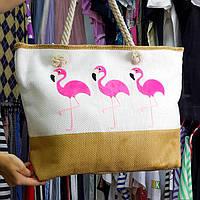 Сумка белая фламинго розовые 211-04