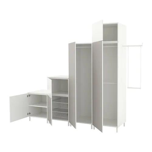 Шкаф IKEA PLATSA 275-300x57x231 см Skatval светло-серый Fonnes белый 292.483.31
