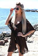 Короткая шифоновая пляжная туникана поясе