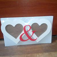 Фоторамка деревянная Два сердца