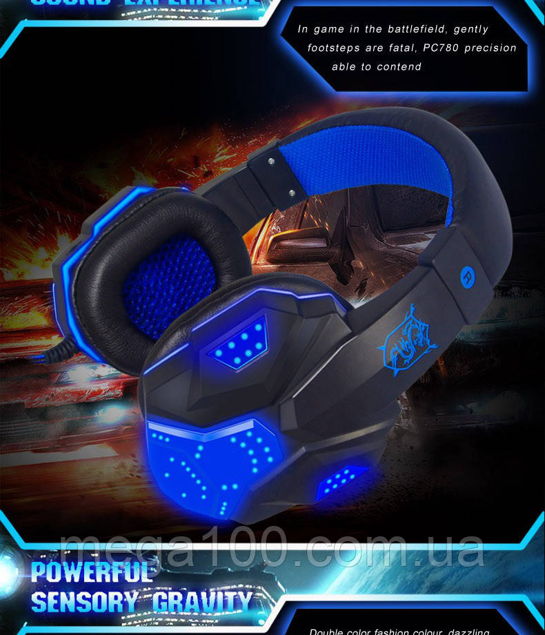 Игровые наушники Plextone PC780 - подсветка, микрофон
