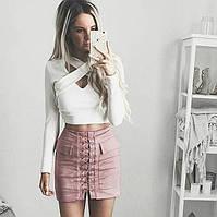 Женская замшевая юбка с карманами на шнуровке розовая, фото 1