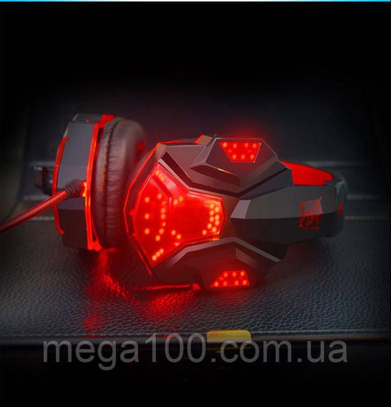 Игровые наушники Plextone PC780 - подсветка, микрофон, цвет красный