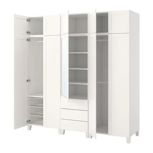 Шкаф IKEA PLATSA 220x57x231 см Sannidal Ridabu белый 792.521.08