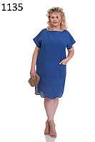 ODDI 1135 : Однотонное летнее платье, прямого покроя, из купона батиста (50-56 размеры)