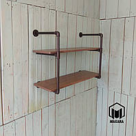 Полка № 28/2. Полки, стеллаж, этажерки, мебель в стиле лофт loft из труб.