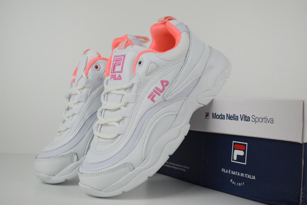 8f26786a Женские Кроссовки Fila Ray белые с розовым 2556 - Компания