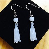 Серебряные серьги Лилии с белым лунным камнем сережки из стерлингового серебра 925 пробы, фото 1