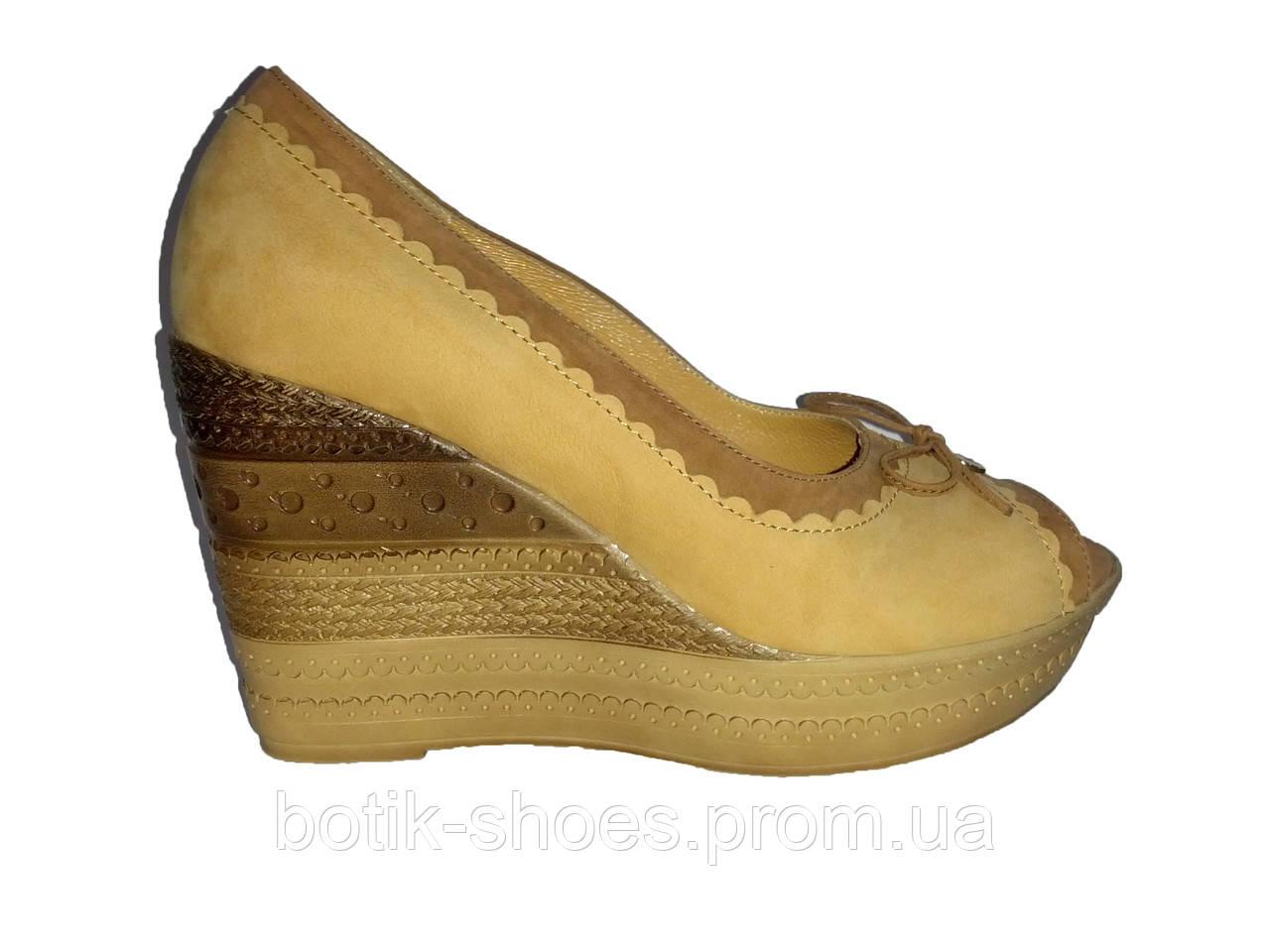 6c3d78b63f081 Кожаные польские женские туфли на танкетке с открытым носком Kordel 4516 -  интернет-магазин обуви