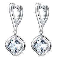 Серебряные серьги Квадрат с горным хрусталем сережки из стерлингового серебра 925 проба, фото 1