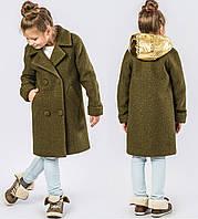 Оригинальное Деми Пальто со Съёмным Капюшоном для Девочки в Цвете Хаки-золотой 116-168 см