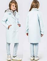 Оригинальное Деми Пальто со Съёмным Капюшоном для Девочки в Цвете Голубой-серебро 116-168 см