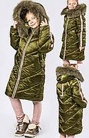 Ультрамодная Зимняя Куртка для Девочки с Натуральным Мехом Песца в Цвете Хаки-пудра Рост 116-168 см