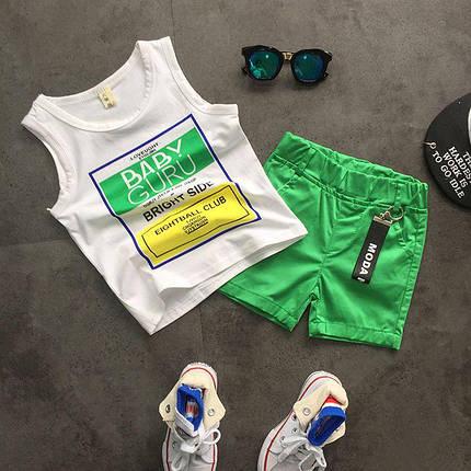 """Летний костюм для мальчика майка и шорты """"Baby Guru"""" зеленый , фото 2"""