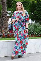 Женское платье в пол в цветочный принт. Размер 52-58