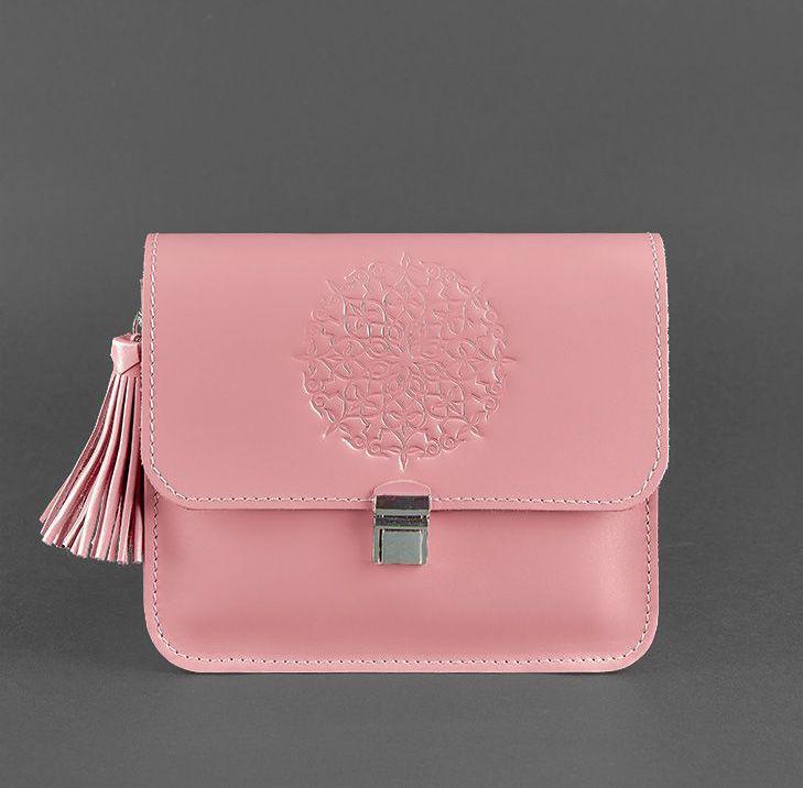 Сумка малая кросс-боди натуральная кожа женская розовая (ручная работа)