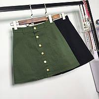 Женская юбка трапеция на пуговицах зеленая (хаки)