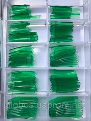 Накладные искусственные типсы GLOBOS R clear Green, фото 2