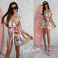 Стильное женское платье с юбкой солнце с принтом