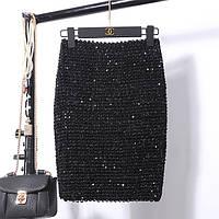 Женская бандажная юбка карандаш с пайетками черная, фото 1