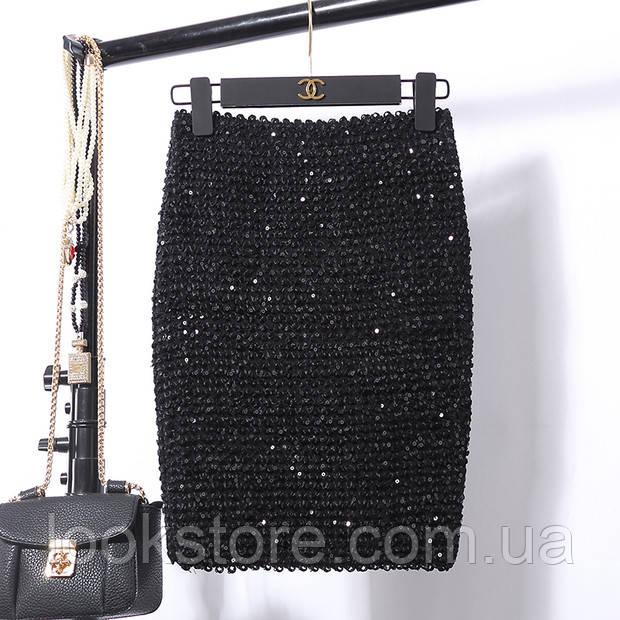 Женская бандажная юбка карандаш с пайетками черная