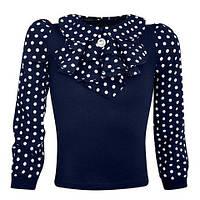 Синяя блуза с отложным воротничком и жабо для девочек