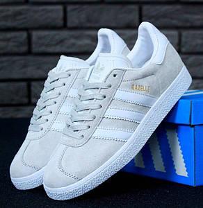 Женские кроссовки в стиле Adidas Gazelle Light Grey/White