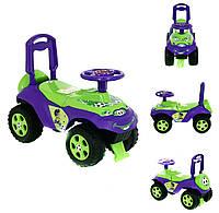 Машинка-каталка DOLONI с музыкальным рулем Зелено-фиолетовая (0142)