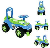 Машинка-каталка DOLONI с музыкальным рулем Зелено-синяя (0142)