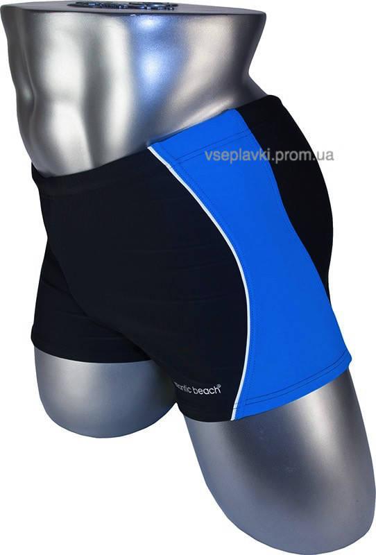 Мужские плавки бoксеры Atlаntic Bеach 79187-2 черный с синим