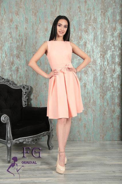 d336925833d Легкое летнее платье миди без рукавов персиковое -