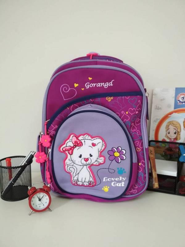 Сиреневый рюкзак для девочки 1-4 класс Gorangd Lovely Cat 38*26*19 см