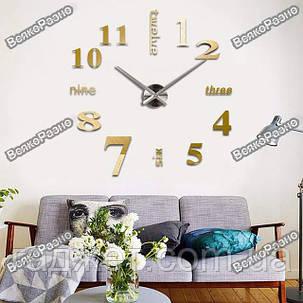 Зеркальные настенные часы. Большие зеркальные настенные часы золотого цвета. Часы для дома, офиса, фото 2