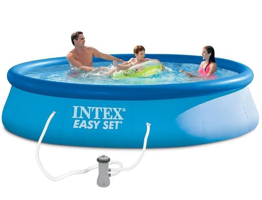 Надувной семейный бассейн Intex 28142 размер 396*84 см + фильтр-насос