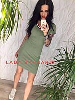 Летнее облегающее спортивное платье средней длины оливковое