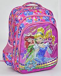 """Детский школьный рюкзак 45х35х20см """"ПРИНЦЕССЫ"""" с мягкой спинкой. Портфель, ранец для девочек. РОЗОВЫЙ."""