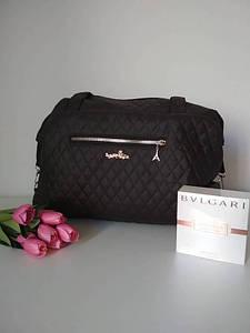 Женская стеганая дорожная сумка темно-коричневого цвета 40*24*14 см