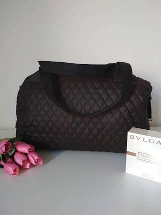 Женская стеганая дорожная сумка темно-коричневого цвета 40*24*14 см, фото 2