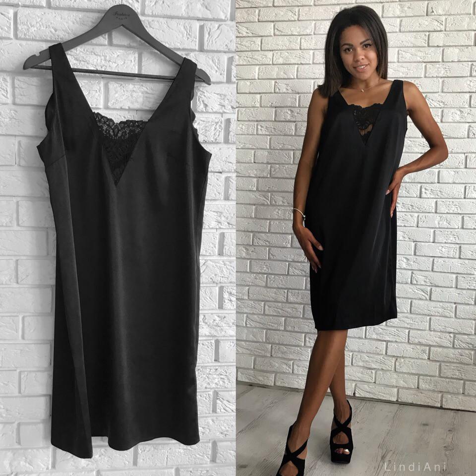 3c0bd7c230b Женское чёрное платье с гипюром миди - Интернет-магазин ZeBazar - одежда