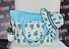 Голубой комплект сумка + шляпа пляжная 2в1.