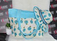 Голубой комплект сумка + шляпа пляжная 2в1., фото 1