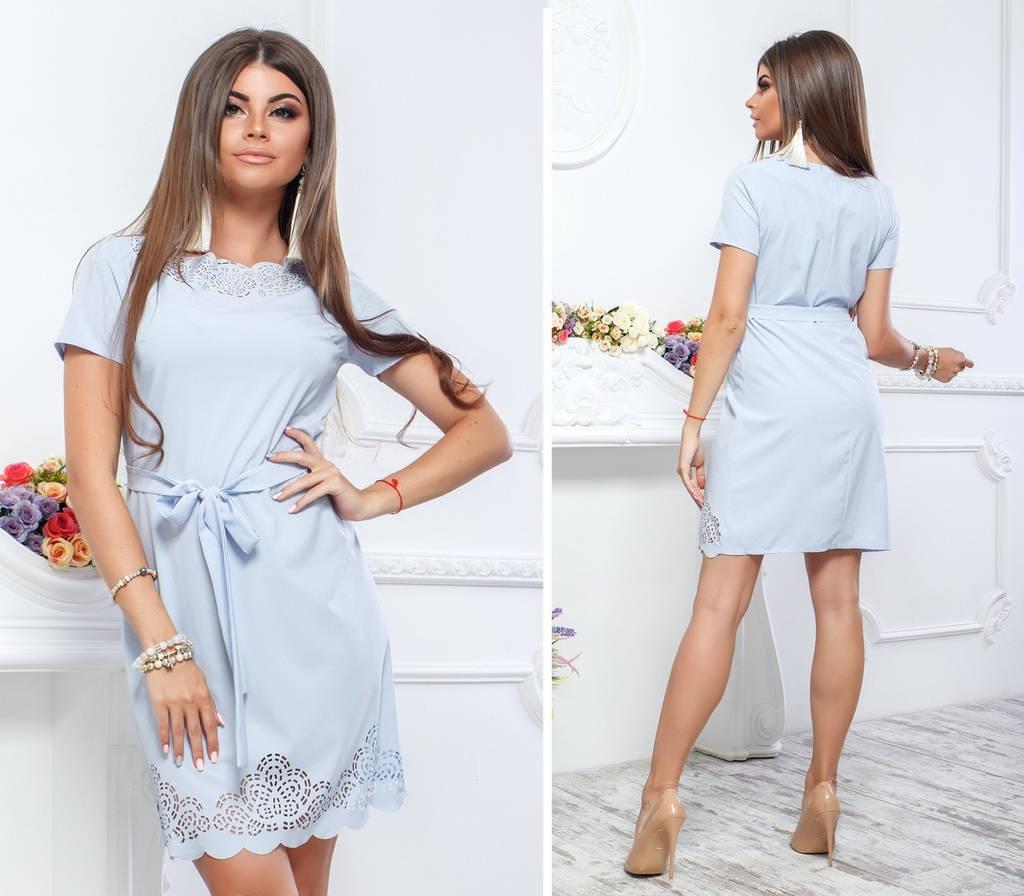 Элегантное платье с перфорацией, декорировано перфорацией / 6 цветов  арт 6008-476