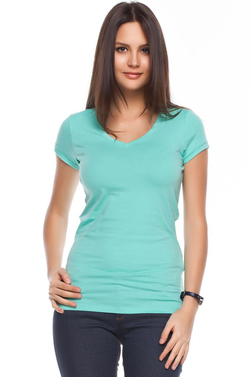 Голубая женская футболка De Facto / Де Факто с V-образной горловиной