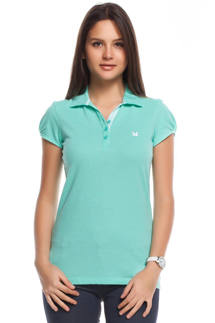 Голубая женская футболка De Facto / Де Факто с воротником и пуговицами