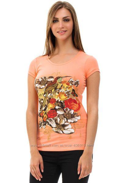 Оранжевая женская футболка De Facto / Де Факто с рисунком-колибри и цветы на груди