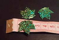 Паетки листик кленовый зеленый с блестками 2,5см