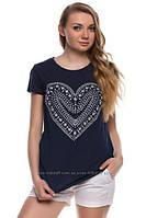 Синяя женская футболка De Facto / Де Факто с рисунком-сердце на груди