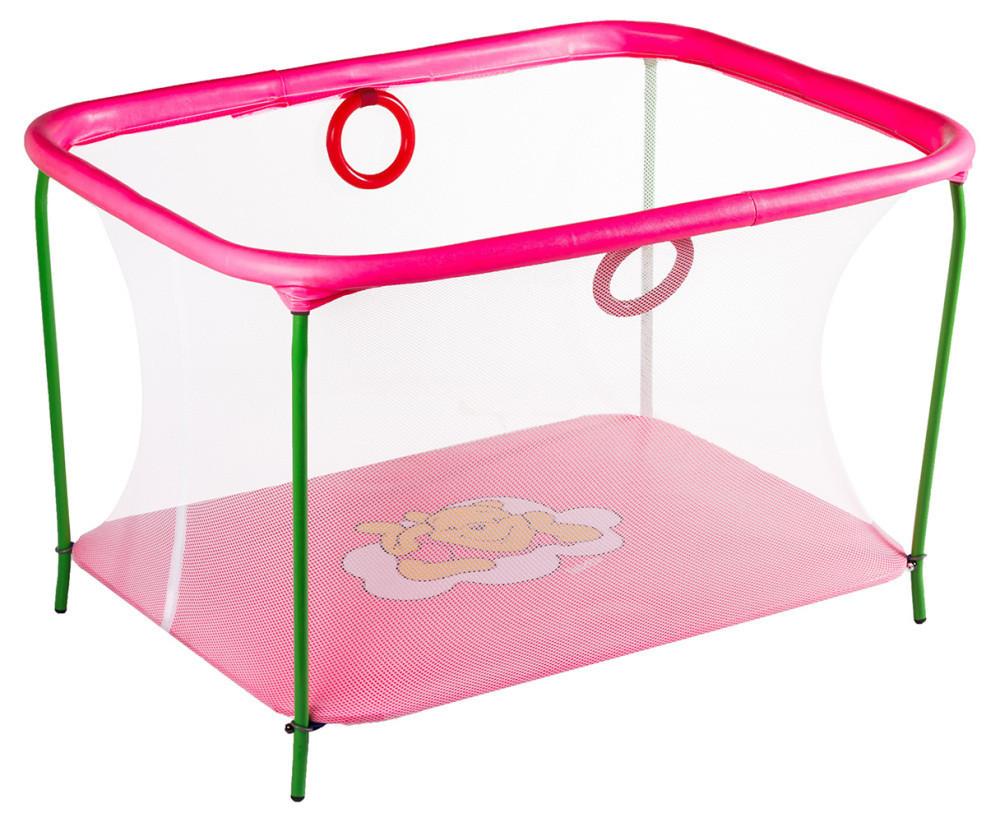 Манеж детский игровой KinderBox люкс Малиновый мишка с мелкой сеткой (km555)
