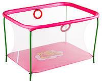 Манеж детский игровой KinderBox люкс Малиновый мишка с мелкой сеткой (km555), фото 1