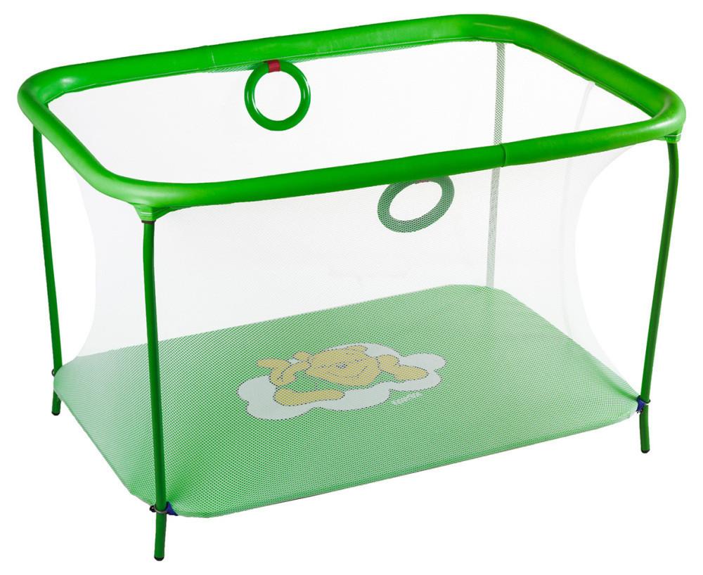 Манеж детский игровой KinderBox люкс Салатовый мишка с мелкой сеткой (km557)